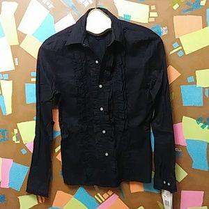 NWT Ralph Lauren Ruffle Front Shirt XS